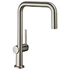 hansgrohe Talis M54 220 U-Spout Single Lever Kitchen Mixer - Stainless Steel - 72806800 profile small image view 1