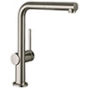 hansgrohe Talis M54 270 Single Lever Kitchen Mixer with Pull Out Spray - Stainless Steel - 72808800 profile small image view 1