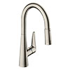 hansgrohe Talis M51 Single Lever Kitchen Mixer 200 with Pull Out Spray - Stainless Steel - 72813800 profile small image view 1