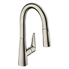 hansgrohe Talis M51 Single Lever Kitchen Mixer 160 with Pull Out Spray - Stainless Steel - 72815800 profile small image view 1
