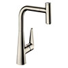hansgrohe Talis Select M51 Single Lever Kitchen Mixer 300 with Pull Out Spray - Stainless Steel - 72821800 profile small image view 1