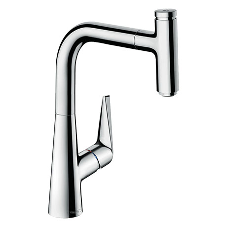 hansgrohe Talis Select M51 Single Lever Kitchen Mixer 220 with Pull Out Spray - Chrome - 72822000