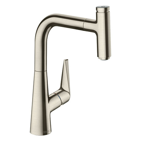 hansgrohe Talis Select M51 Single Lever Kitchen Mixer 220 with Pull Out Spray - Stainless Steel - 72