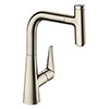 hansgrohe Talis Select M51 Single Lever Kitchen Mixer 220 with Pull Out Spray - Stainless Steel - 72822800 profile small image view 1