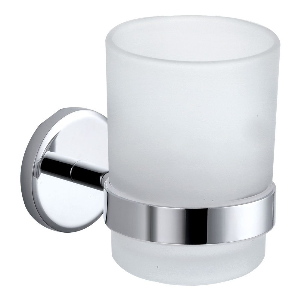 Orion Frosted Glass Tumbler & Holder - Chrome profile large image view 1