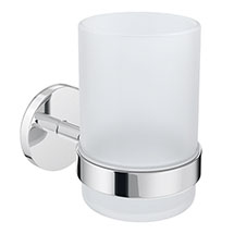 Orion Frosted Glass Tumbler & Holder - Chrome Medium Image