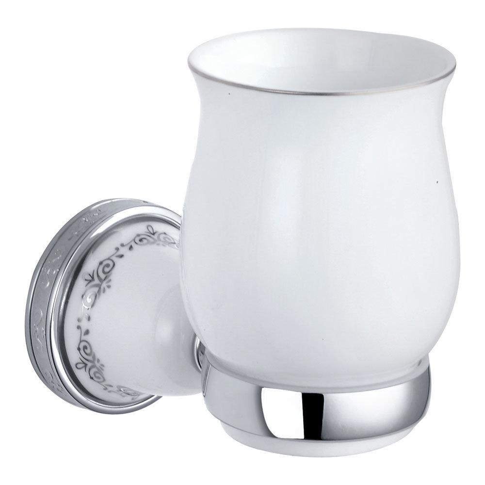 Charlbury Traditional Ceramic Tumbler & Holder - Chrome Large Image
