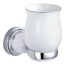 Charlbury Traditional Ceramic Tumbler & Holder - Chrome Medium Image
