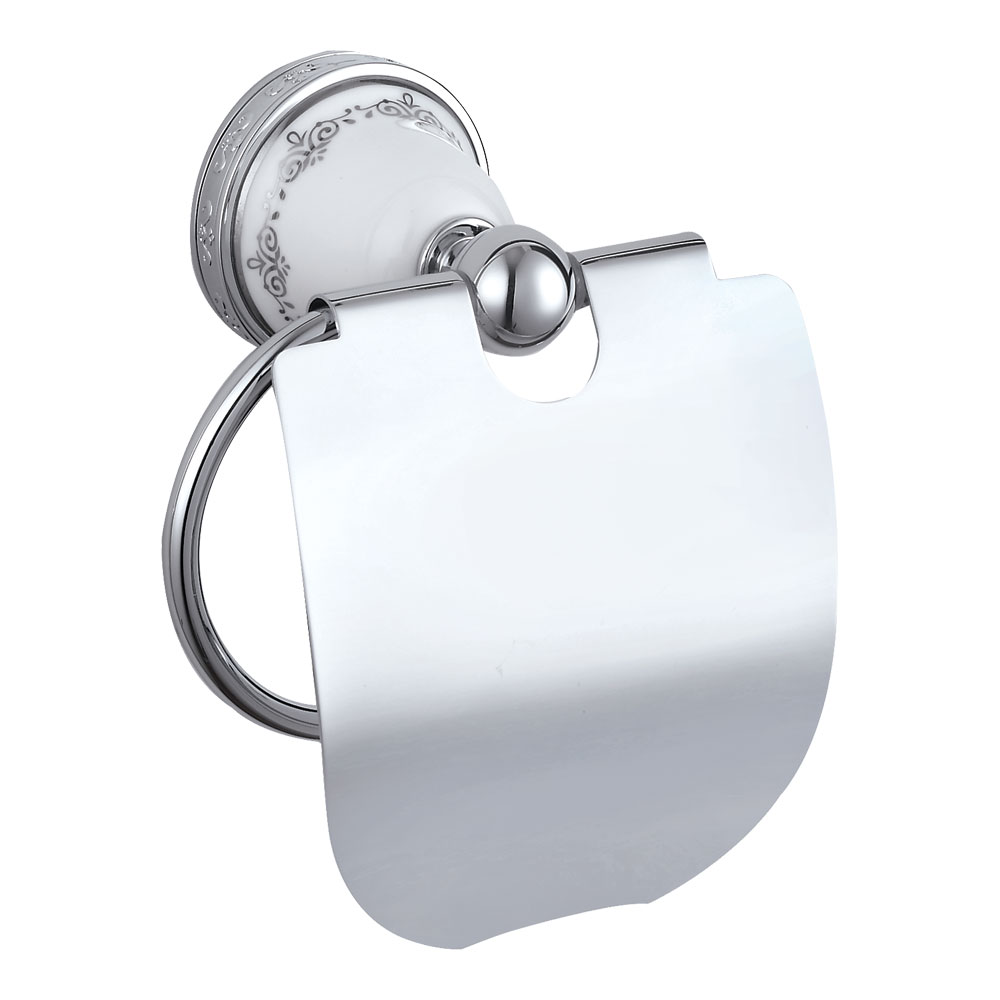 Charlbury Traditional Toilet Roll Holder with Lid - Chrome Large Image