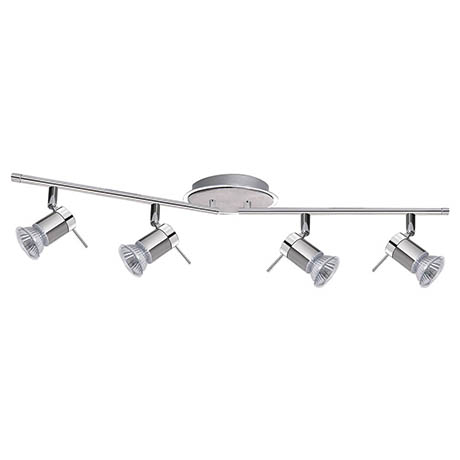 Searchlight Aries 4 Light Adjustable Bar Chrome & Satin Silver Spotlight - 7444CC-LED