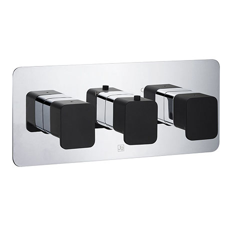 JTP Axel Twin Outlet Thermostatic Concealed Shower Valve Horizontal with Matt Black Handles