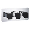 JTP Axel Triple Outlet Thermostatic Concealed Shower Valve Horizontal with Matt Black Handles profile small image view 1