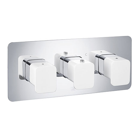 JTP Axel Triple Outlet Thermostatic Concealed Shower Valve Horizontal with Matt White Handles