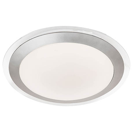 Searchlight Silver LED Flush Light with White Acrylic Shade - 7684-33SI