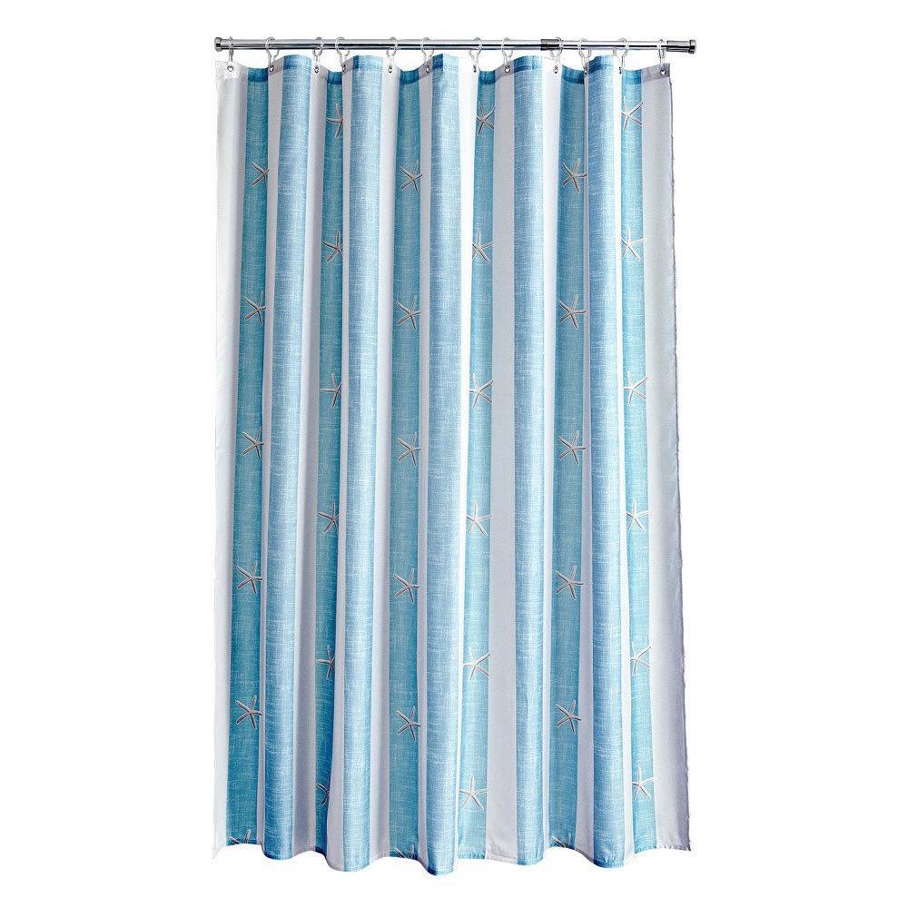 Aqualona Coastal Stripe Polyester Shower Curtain - W1800 x H1800mm - 77108 Large Image