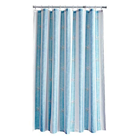 Aqualona Coastal Stripe Polyester Shower Curtain - W1800 x H1800mm - 77108