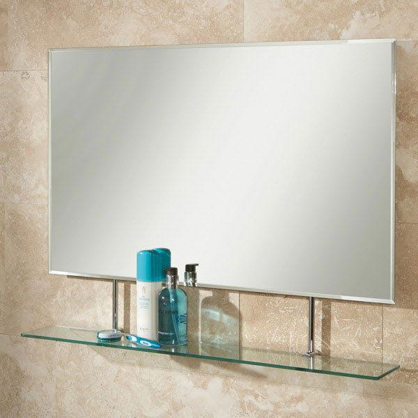 HIB Sati Rectangular Bathroom Mirror with Glass Shelf - 77264000 profile large image view 1