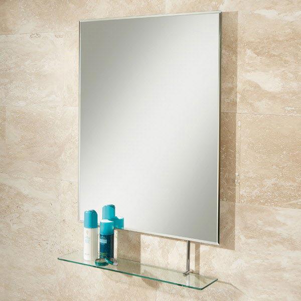 HIB Tapio Rectangular Bathroom Mirror with Glass Shelf - 77275000 profile large image view 1