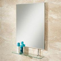 HIB Tapio Rectangular Bathroom Mirror with Glass Shelf - 77275000 Medium Image