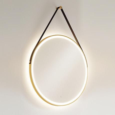 HIB Solstice Brushed Brass 60 Round LED Illuminated Mirror - 79520750