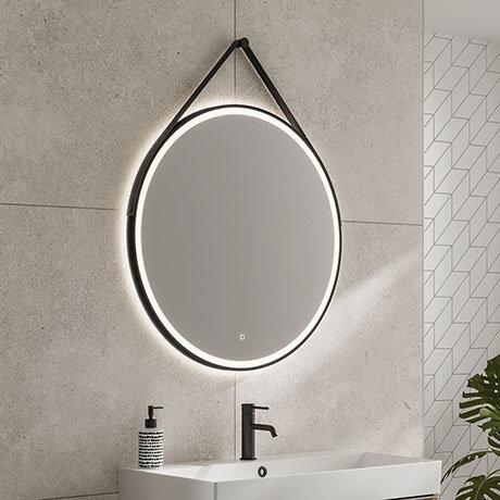 HIB Solstice Matt Black 80 Round LED Illuminated Mirror - 79520800