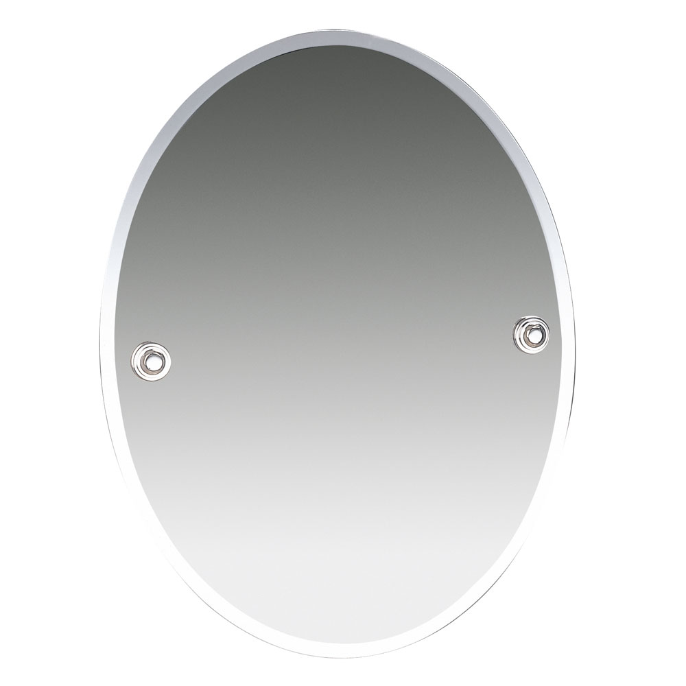 Miller Oslo 400 x 505mm Polished Nickel Oval Bevelled Mirror - 8000MN profile large image view 1