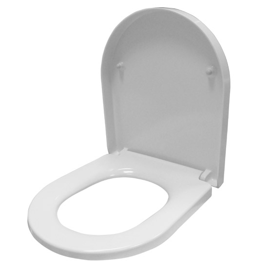 Euroshowers ONE Seat Short D-Shape Soft Close Toilet Seat - White - 88210 Feature Large Image