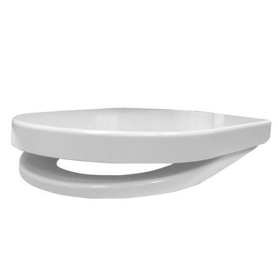 Euroshowers ONE Seat Short D-Shape Soft Close Toilet Seat - White - 88210 Standard Large Image