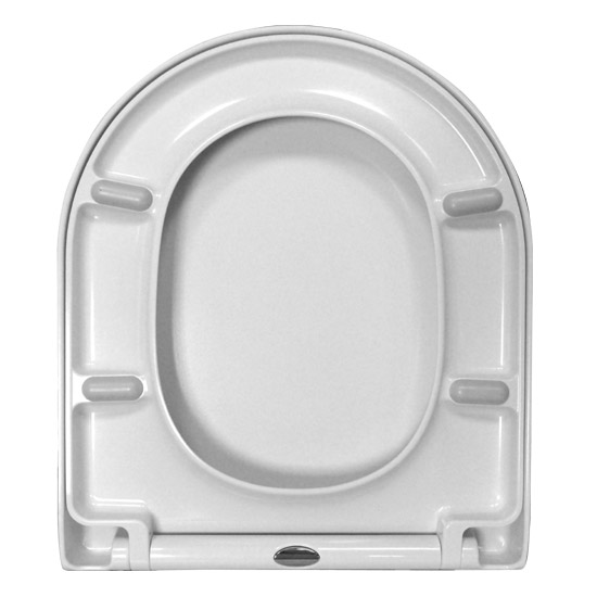 Euroshowers ONE Seat Short D-Shape Soft Close Toilet Seat - White - 88210 In Bathroom Large Image