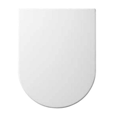 Euroshowers ONE Seat Short D-Shape Soft Close Toilet Seat - White - 88210 profile large image view 1