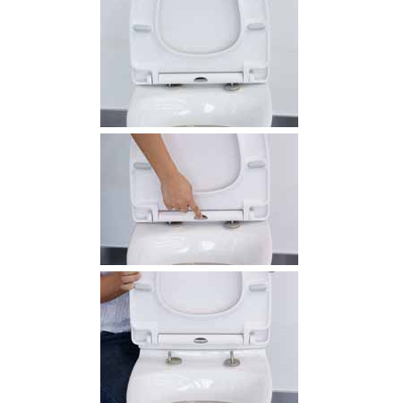 Euroshowers ONE Seat Long Elongated D-Shape Soft Close Toilet Seat - White - 88310 profile large image view 2