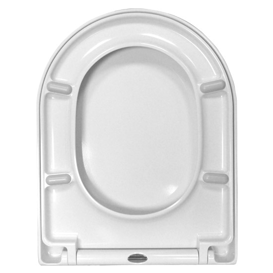 Euroshowers ONE Seat Long Elongated D-Shape Soft Close Toilet Seat - White - 88310 profile large image view 3