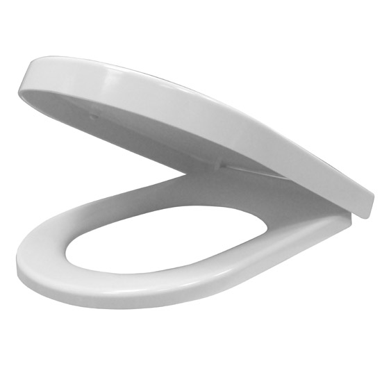 Euroshowers ONE Seat Long Elongated D-Shape Soft Close Toilet Seat - White - 88310
