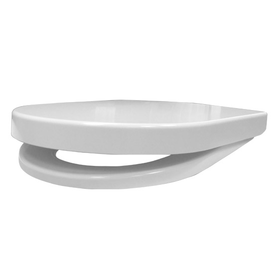 Euroshowers ONE Seat Long Elongated D-Shape Soft Close Toilet Seat - White - 88310 profile large image view 5