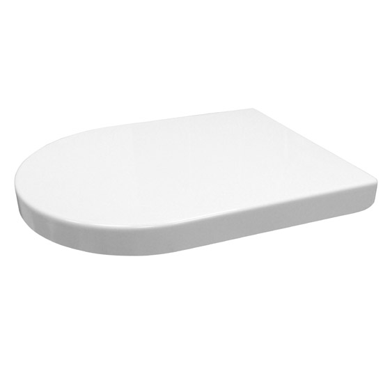 Euroshowers ONE Seat Long Elongated D-Shape Soft Close Toilet Seat - White - 88310 profile large image view 7