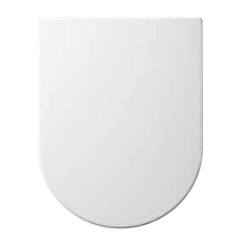Euroshowers ONE Seat Long Elongated D-Shape Soft Close Toilet Seat - White - 88310 profile large image view 1