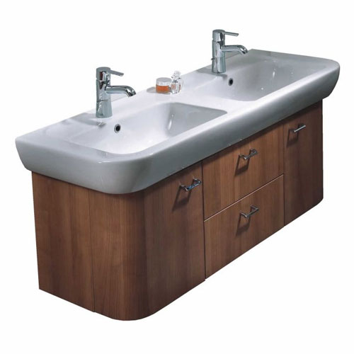 Vitra - Retro Double Basin and Vanity Unit - Various Colour Options Large Image