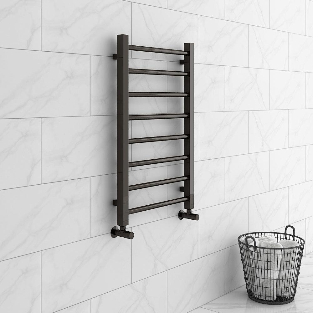 Brooklyn Black Nickel 800 x 500mm Straight Heated Towel Rail