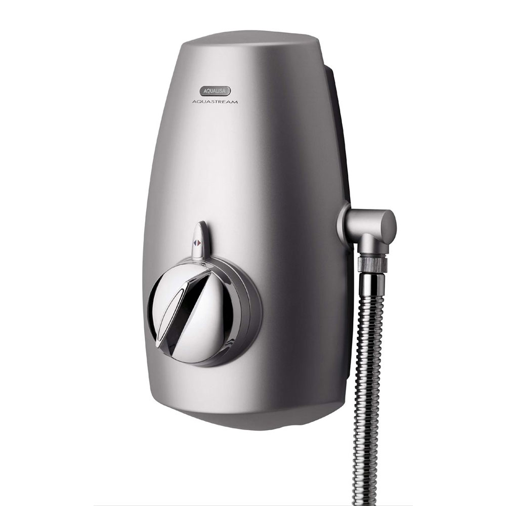 Aqualisa - Aquastream Thermo Power Shower with Adjustable Head - Satin Chrome - 813.40.01 profile large image view 2