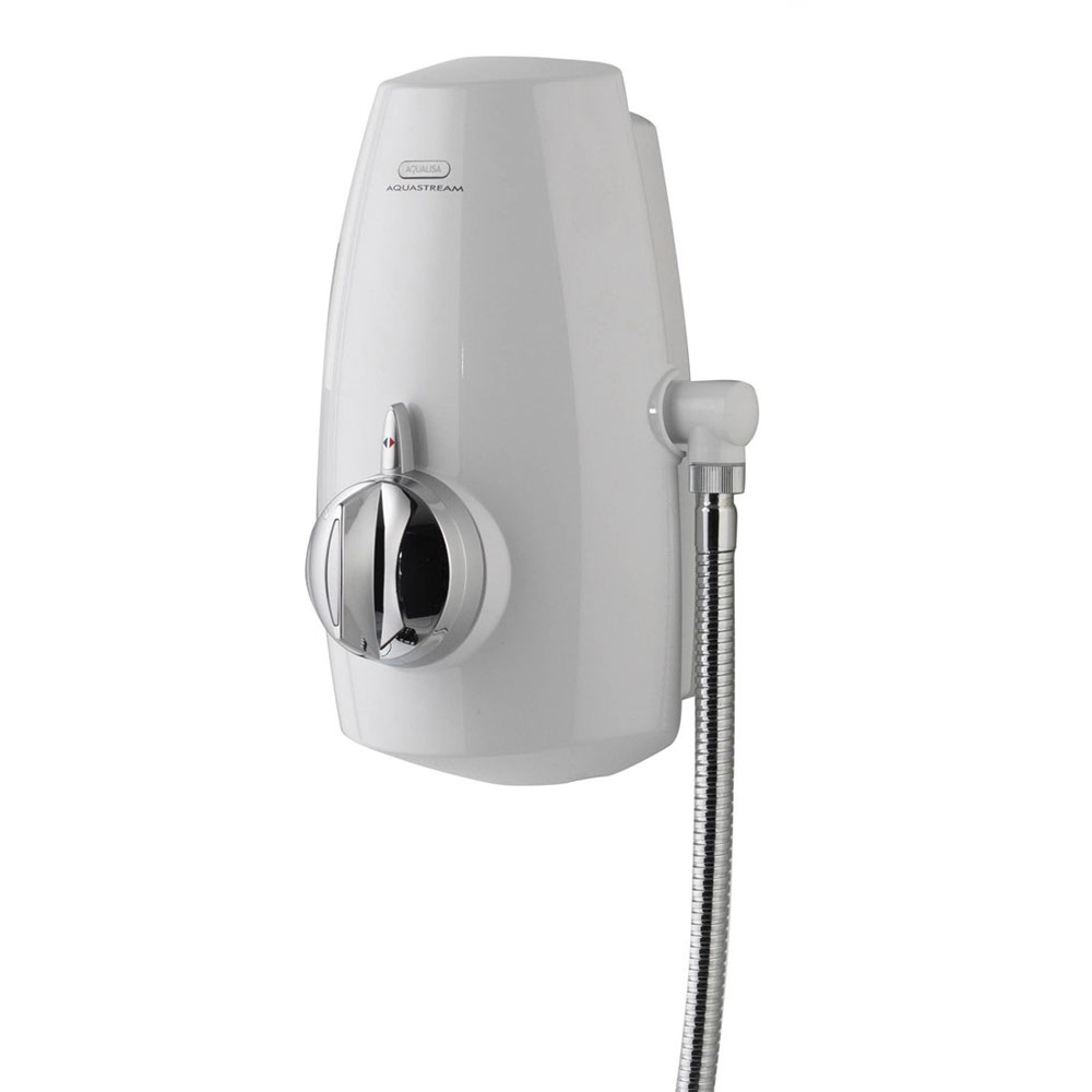 Aqualisa - Aquastream Thermo Power Shower with Adjustable Head - White/Chrome - 813.40.21 Profile Large Image