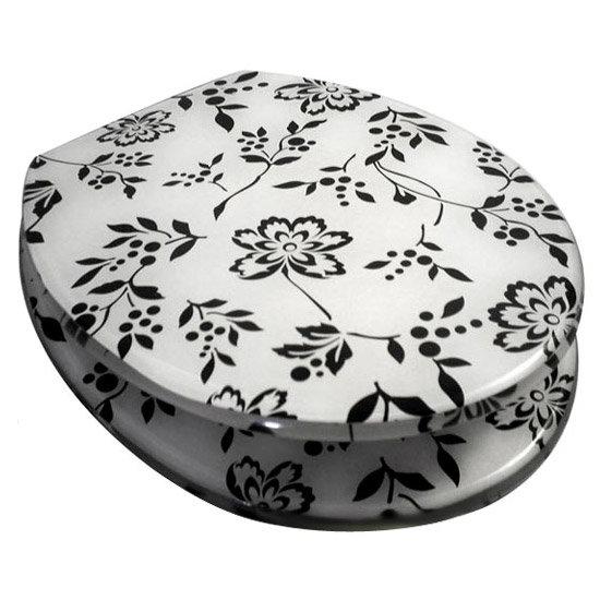 black and white toilet seat. Euroshowers  Black and White Print Resin Toilet Seat 81890 at Victorian Plumbing UK