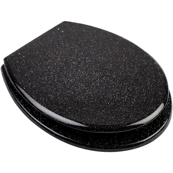 Euroshowers - Black Glitter Toilet Seat - 81870 profile large image view 1