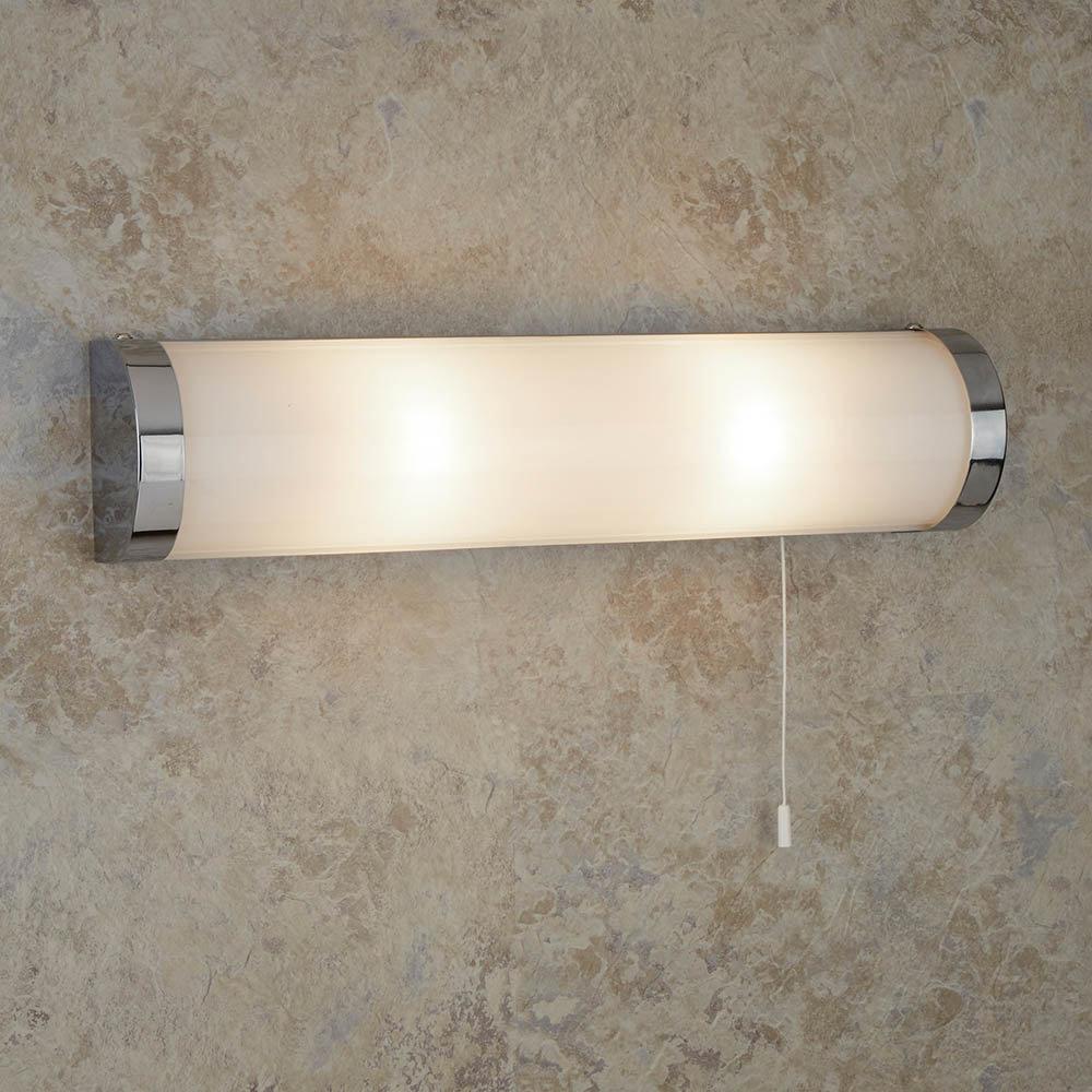 Searchlight Poplar Chrome 2 Light Wall Light with White Glass Tube - 8293CC