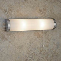 Searchlight Poplar Chrome 2 Light Wall Light with White Glass Tube - 8293CC Medium Image