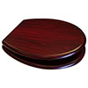 Euroshowers Mahogany MDF Toilet Seat with Chrome Bar Hinges - 82981 profile small image view 1