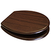 Euroshowers Walnut MDF Toilet Seat with Chrome Bar Hinges - 82984 profile small image view 1