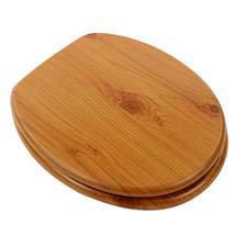 Euroshowers - MDF Antique Pine Toilet Seat w/ Chrome Hinges - 82987 Medium Image