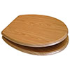 Euroshowers Antique Pine MDF Toilet Seat with Chrome Bar Hinges - 82987 profile small image view 1