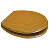 Euroshowers Oak MDF Toilet Seat with Chrome Bar Hinges - 82989 profile small image view 1