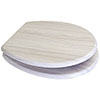 Euroshowers White Ash MDF Toilet Seat with Chrome Bar Hinges - 82994 profile small image view 1